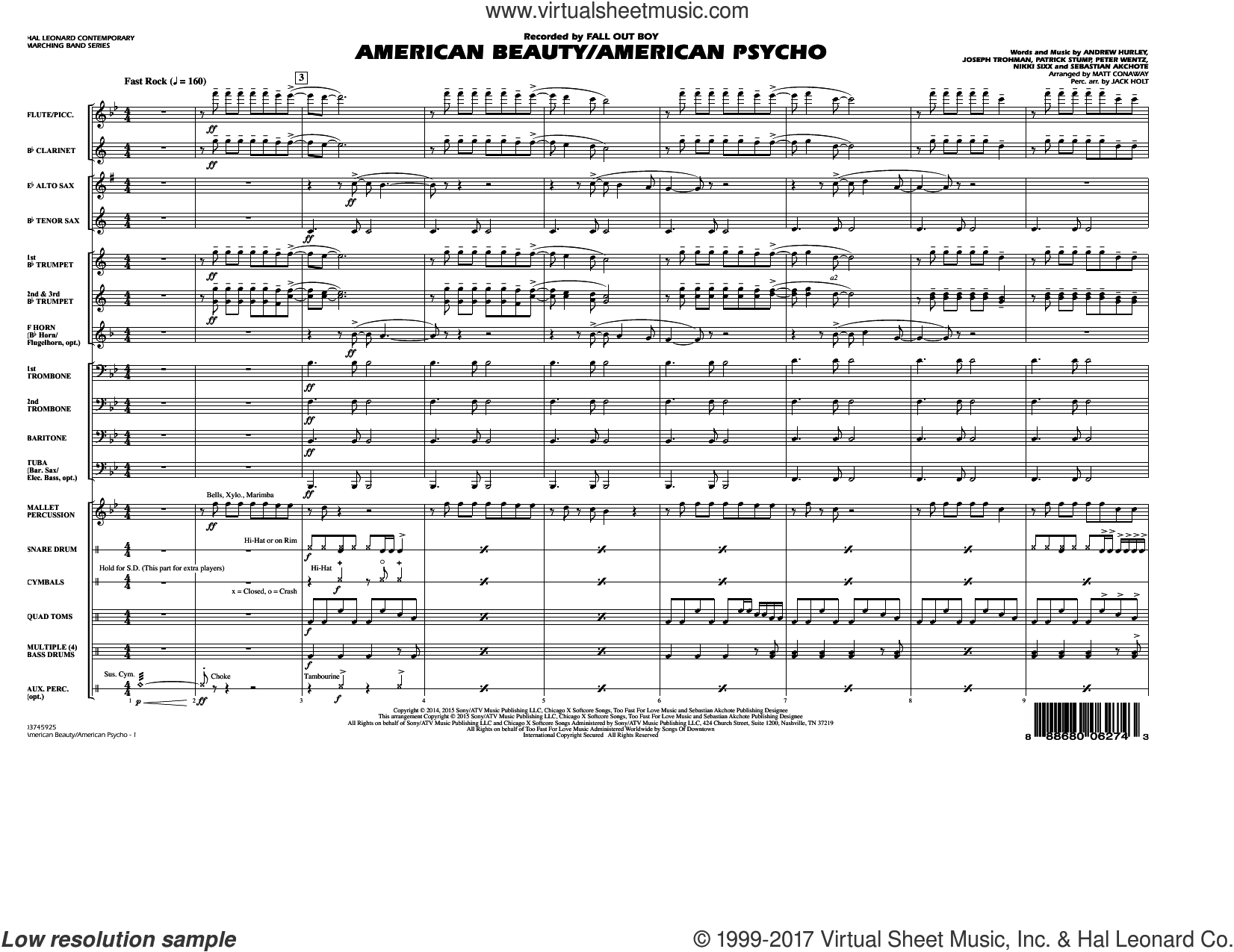 American Beauty/American Psycho (COMPLETE) sheet music for marching band by Nikki Sixx and Matt Conaway, intermediate marching band. Score Image Preview.
