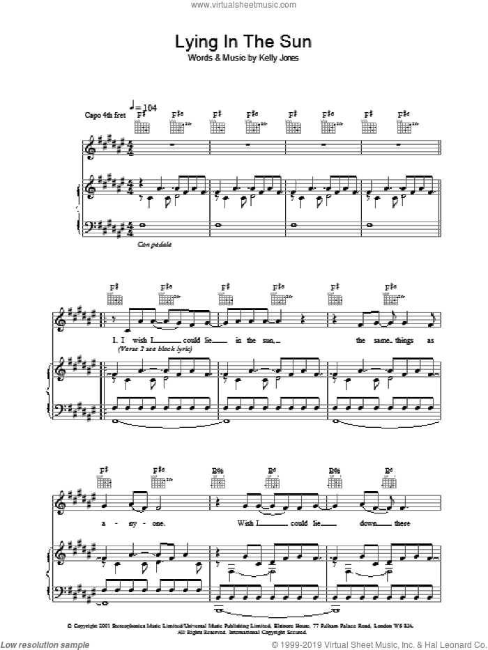 Lying In The Sun sheet music for voice, piano or guitar by Stereophonics. Score Image Preview.