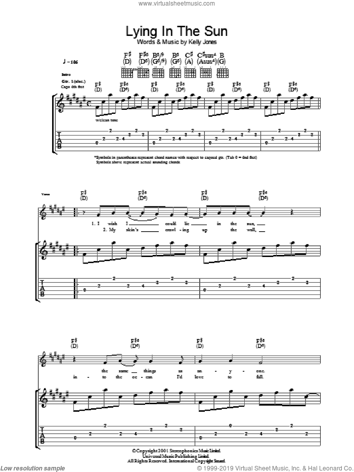 Lying In The Sun sheet music for guitar (tablature) by Kelly Jones and Stereophonics. Score Image Preview.