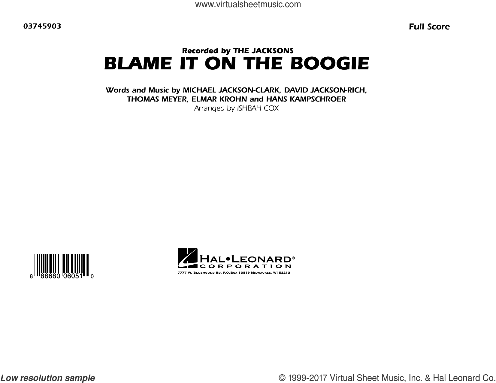 Blame It on the Boogie (COMPLETE) sheet music for marching band by Ishbah Cox, David Jackson Rich, Elmar Krohn, Hans Kampschroer, Michael Jackson-Clark and Thomas Meyer, intermediate skill level