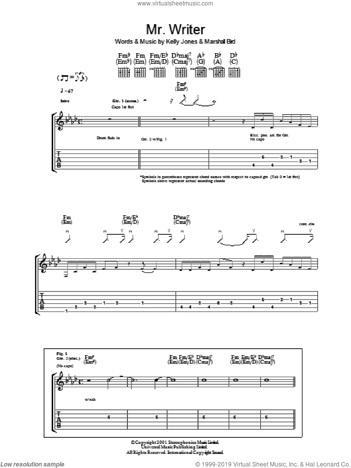 Mr. Writer sheet music for guitar (tablature) by Marshall Bird, Stereophonics and Kelly Jones. Score Image Preview.