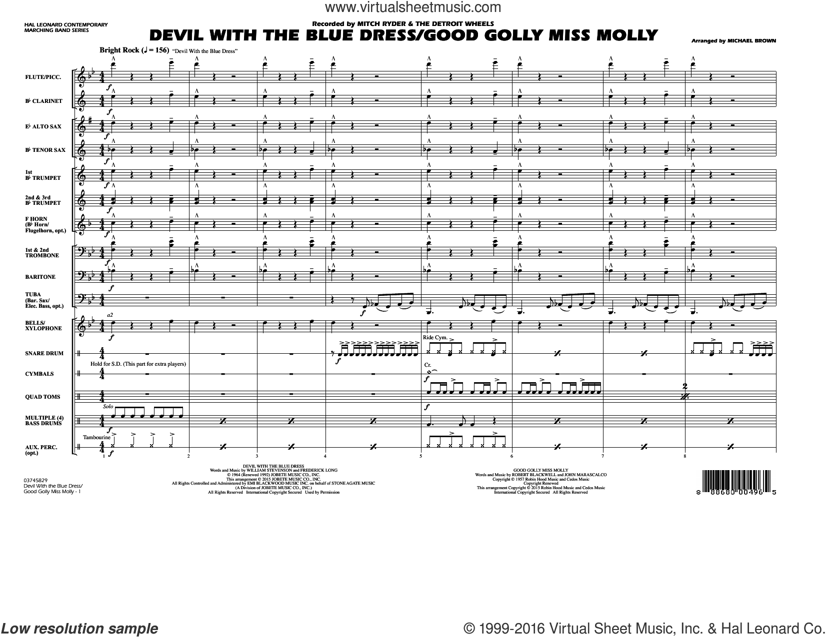Devil with the Blue Dress/Good Golly Miss Molly sheet music for marching band (full score) by Michael Brown, intermediate. Score Image Preview.