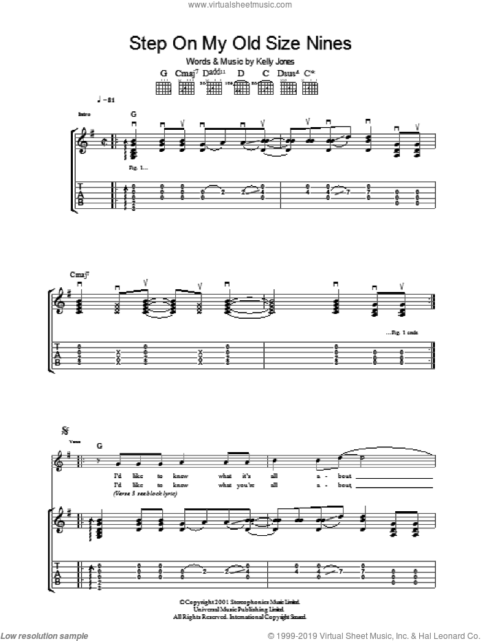 Step On My Old Size Nines sheet music for guitar (tablature) by Kelly Jones and Stereophonics. Score Image Preview.