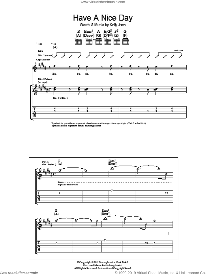 Have A Nice Day sheet music for guitar (tablature) by Kelly Jones and Stereophonics. Score Image Preview.