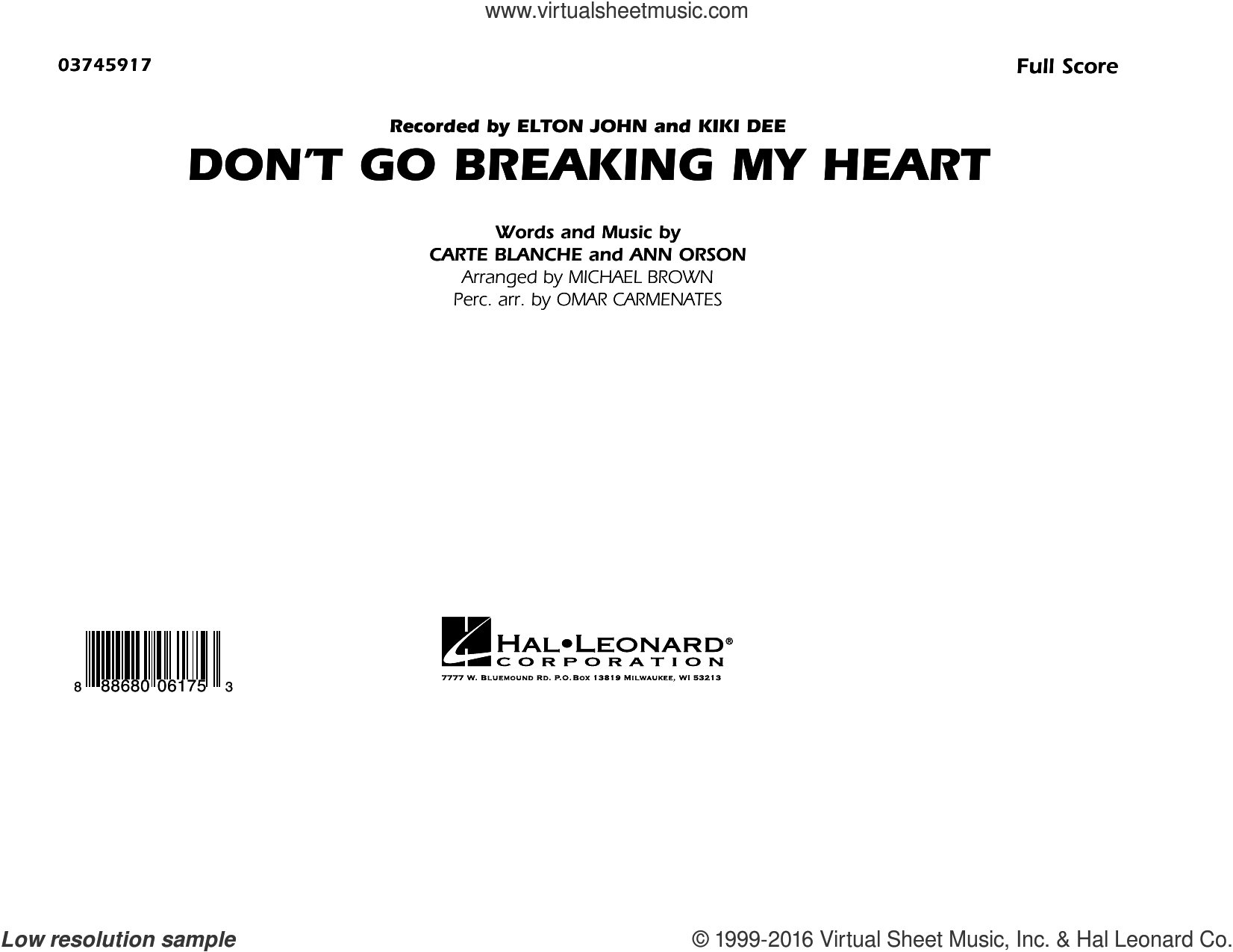Don't Go Breaking My Heart sheet music for marching band (full score) by Carte Blanche, Ann Orson, Elton John and Michael Brown. Score Image Preview.