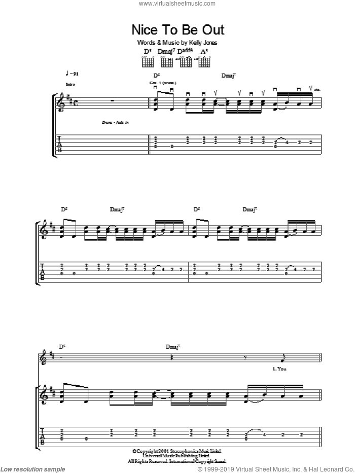 Nice To Be Out sheet music for guitar (tablature) by Stereophonics, intermediate guitar (tablature). Score Image Preview.