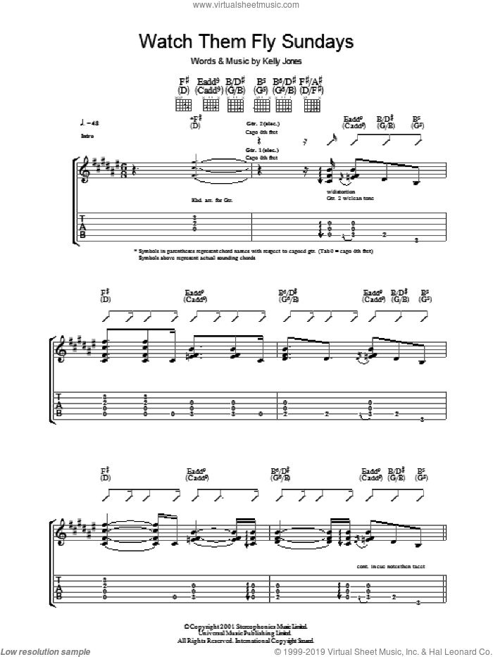 Watch Them Fly Sundays sheet music for guitar (tablature) by Stereophonics and Kelly Jones, intermediate skill level