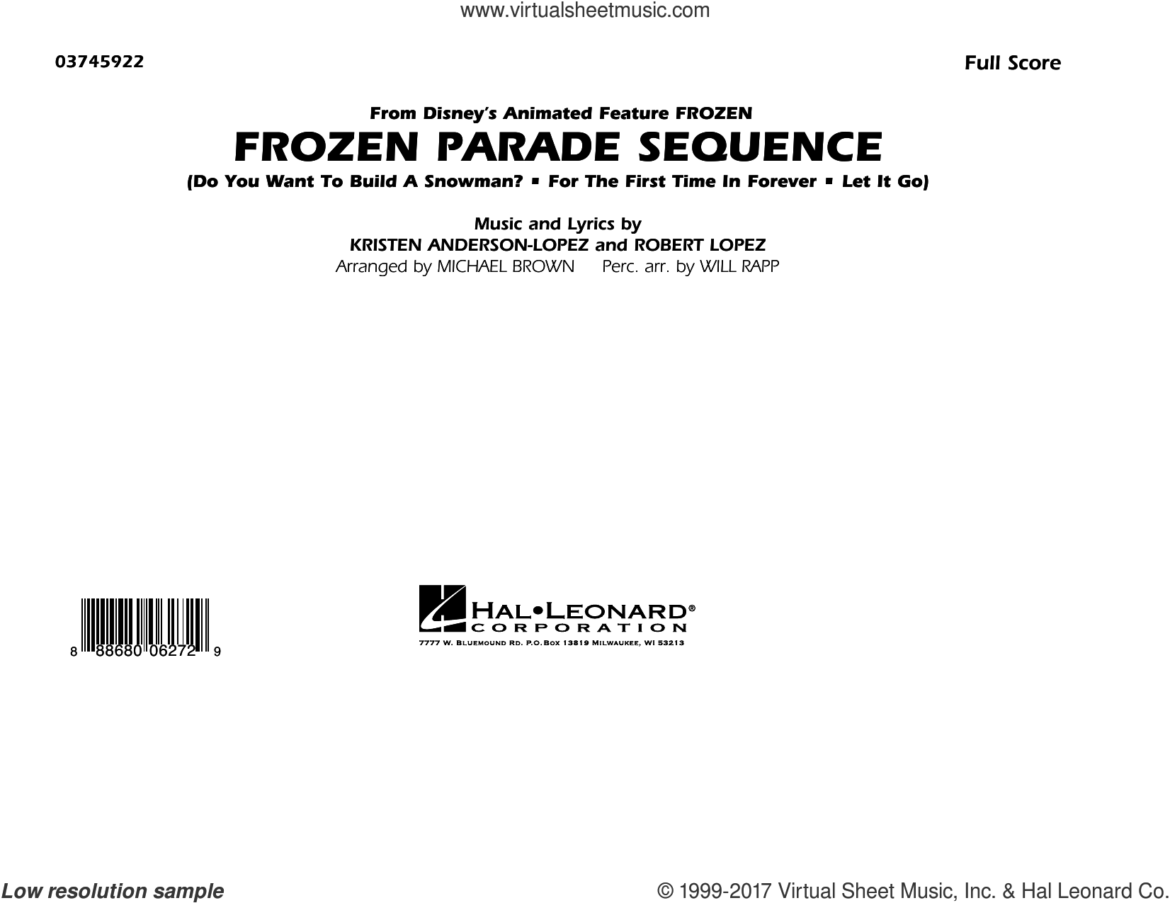Frozen Parade Sequence (COMPLETE) sheet music for marching band by Robert Lopez, Kristen Anderson-Lopez, Michael Brown and Will Rapp, intermediate marching band. Score Image Preview.
