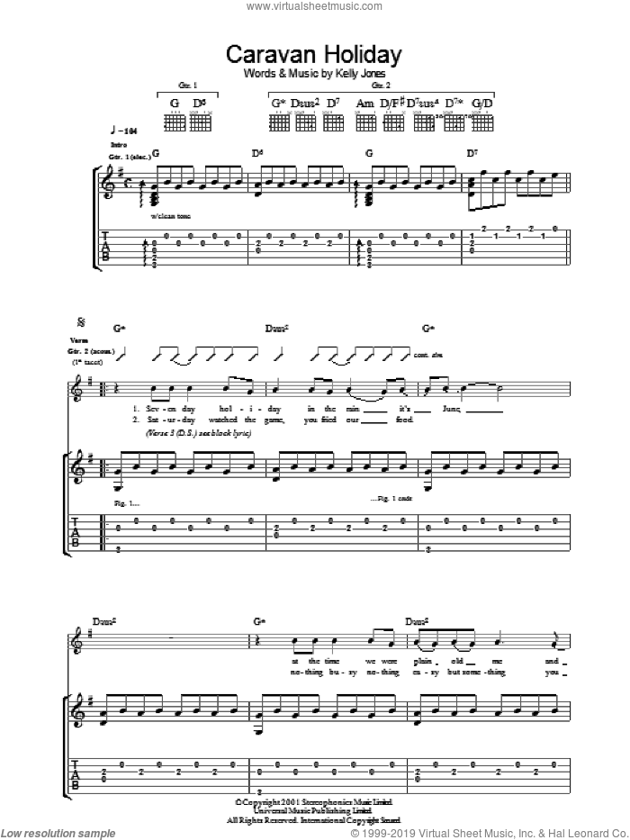 Caravan Holiday sheet music for guitar (tablature) by Stereophonics and Kelly Jones, intermediate skill level