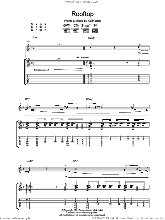 Rooftop sheet music for guitar (tablature) by Kelly Jones and Stereophonics. Score Image Preview.