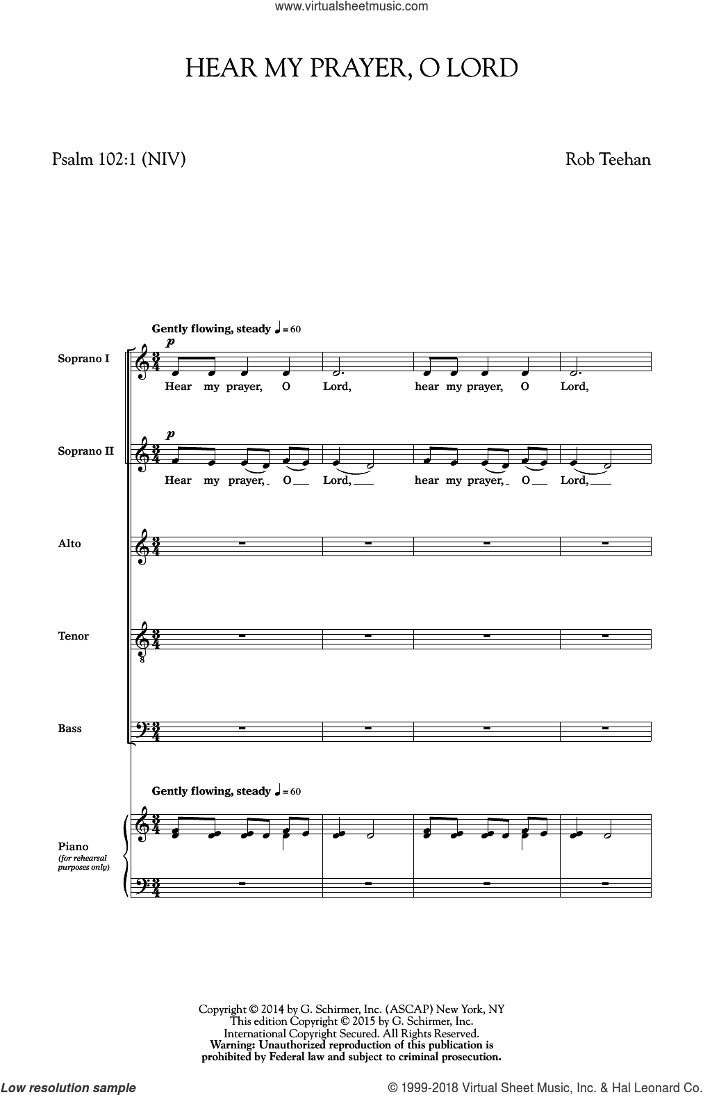 Hear My Prayer, O Lord sheet music for choir (SATB) by Jon Washburn and Rob Teehan. Score Image Preview.