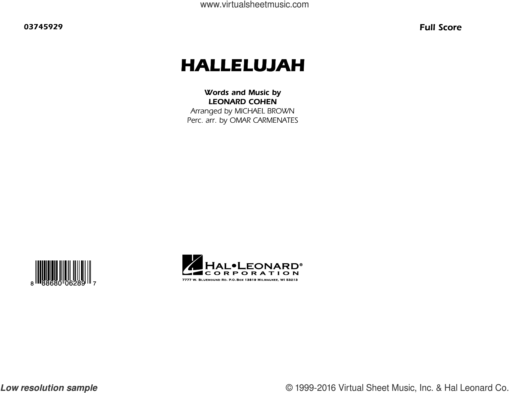 Hallelujah (COMPLETE) sheet music for marching band by Leonard Cohen and Michael Brown. Score Image Preview.