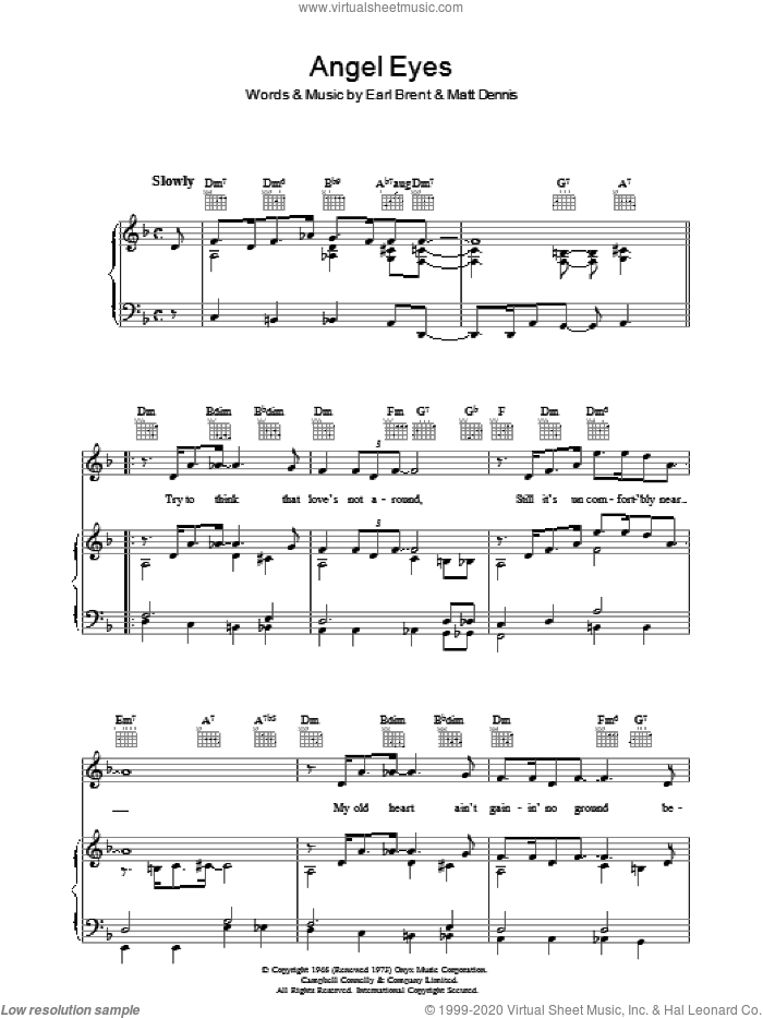 Angel Eyes sheet music for voice, piano or guitar by Frank Sinatra, Earl Brent and Matt Dennis, intermediate voice, piano or guitar. Score Image Preview.