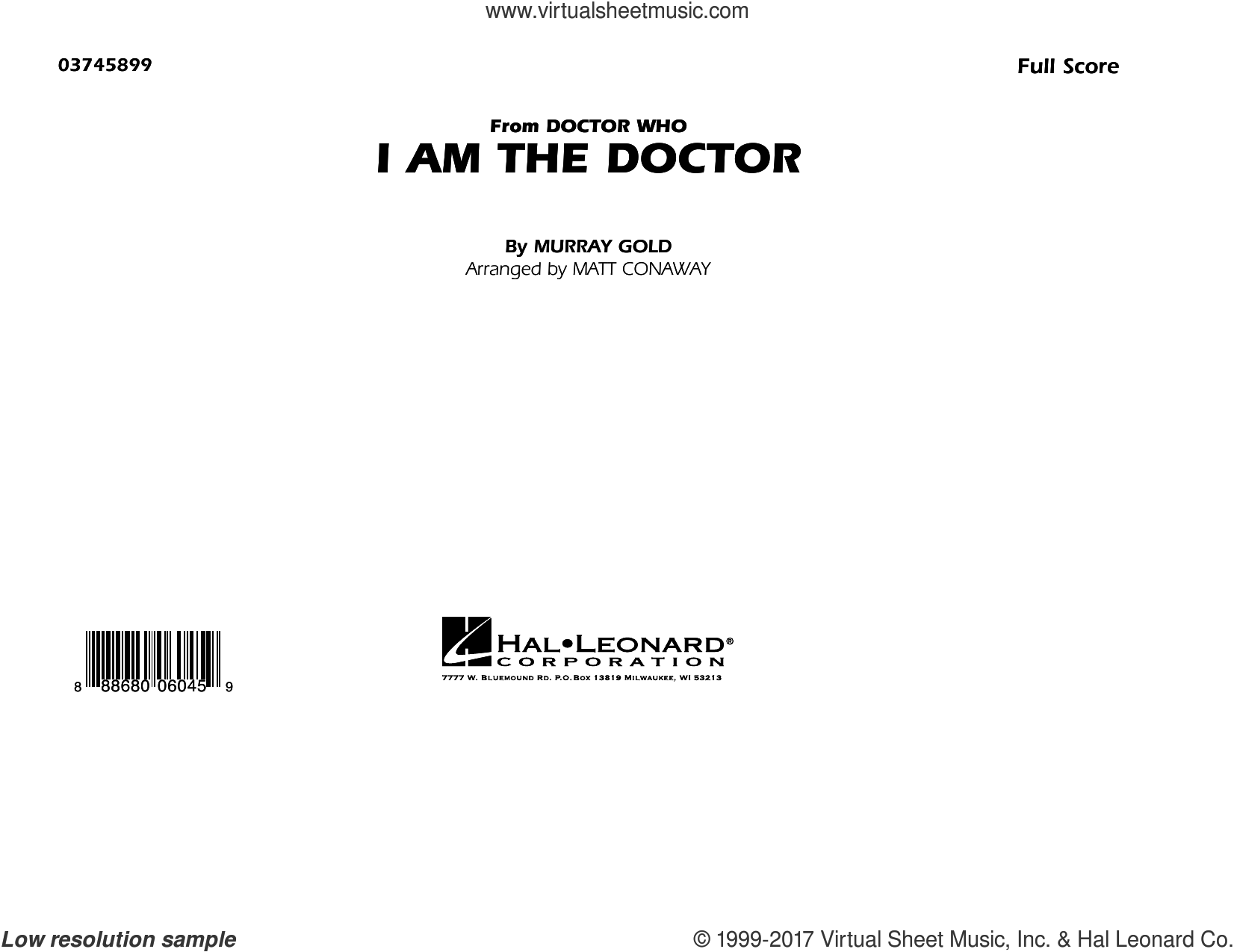 I Am the Doctor (from Doctor Who) (COMPLETE) sheet music for marching band by Matt Conaway and Murray Gold, intermediate