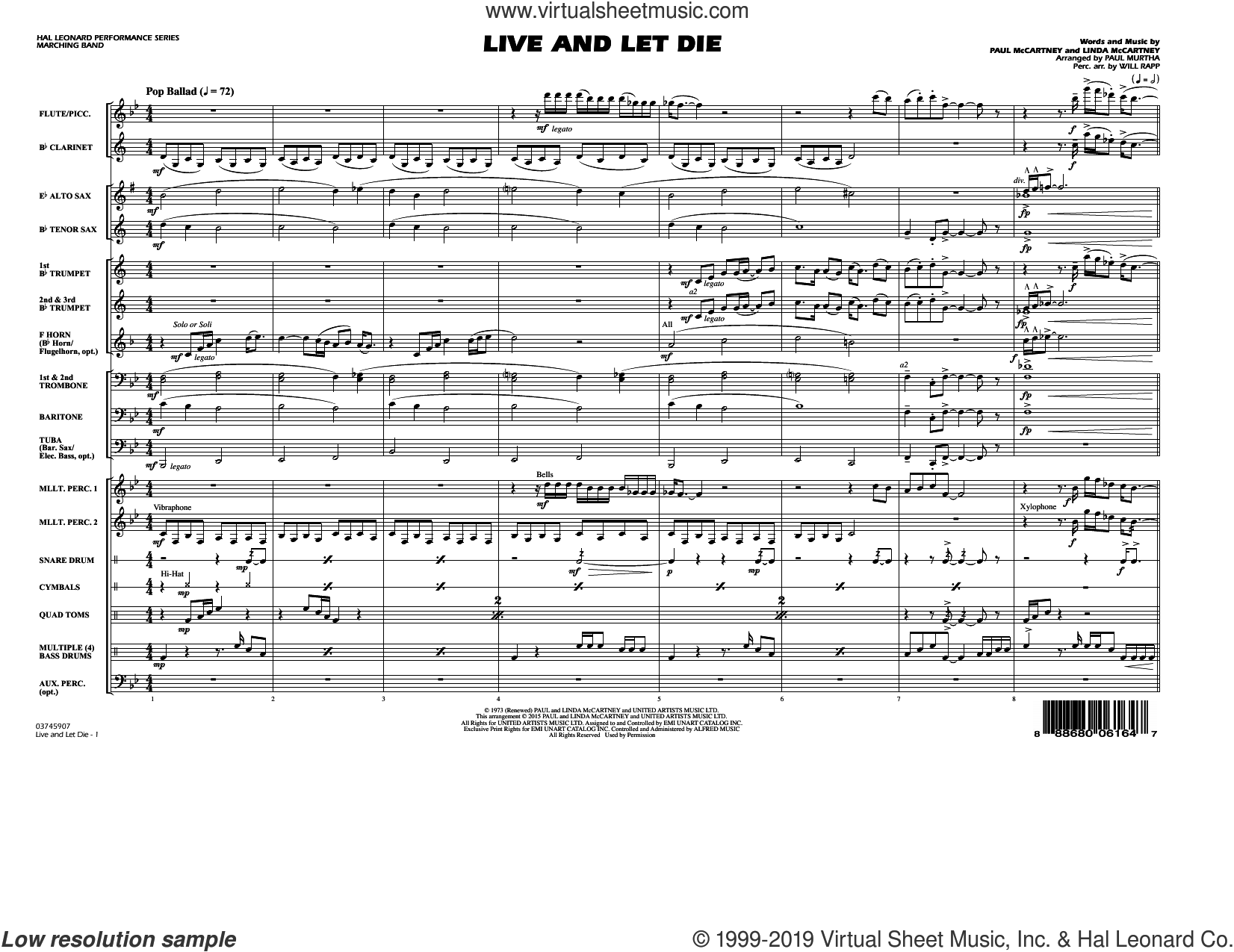 Live and Let Die, complete collection (COMPLETE) sheet music for marching band by Paul McCartney, Linda McCartney, Paul Murtha and Wings, intermediate skill level