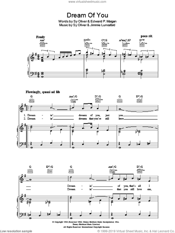 Dream Of You sheet music for voice, piano or guitar by Sy Oliver