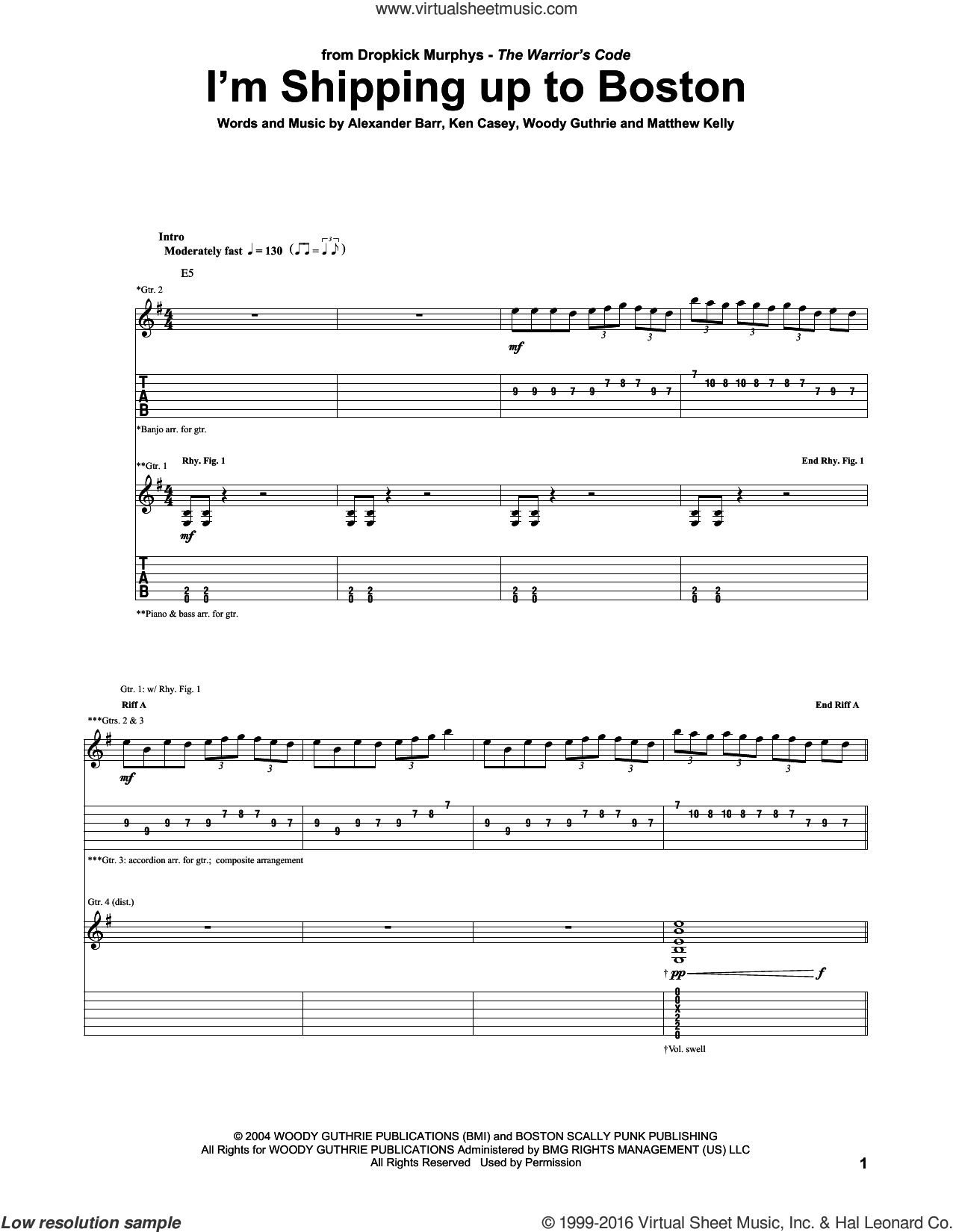 I'm Shipping Up To Boston sheet music for guitar (tablature) by Dropkick Murphys, Alexander Barr, Ken Casey, Matthew Kelly and Woody Guthrie, intermediate skill level