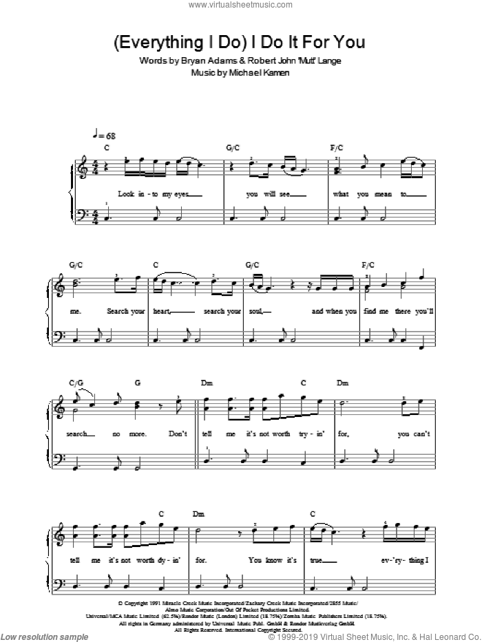 (Everything I Do) I Do It For You sheet music for piano solo (chords) by Robert John Lange