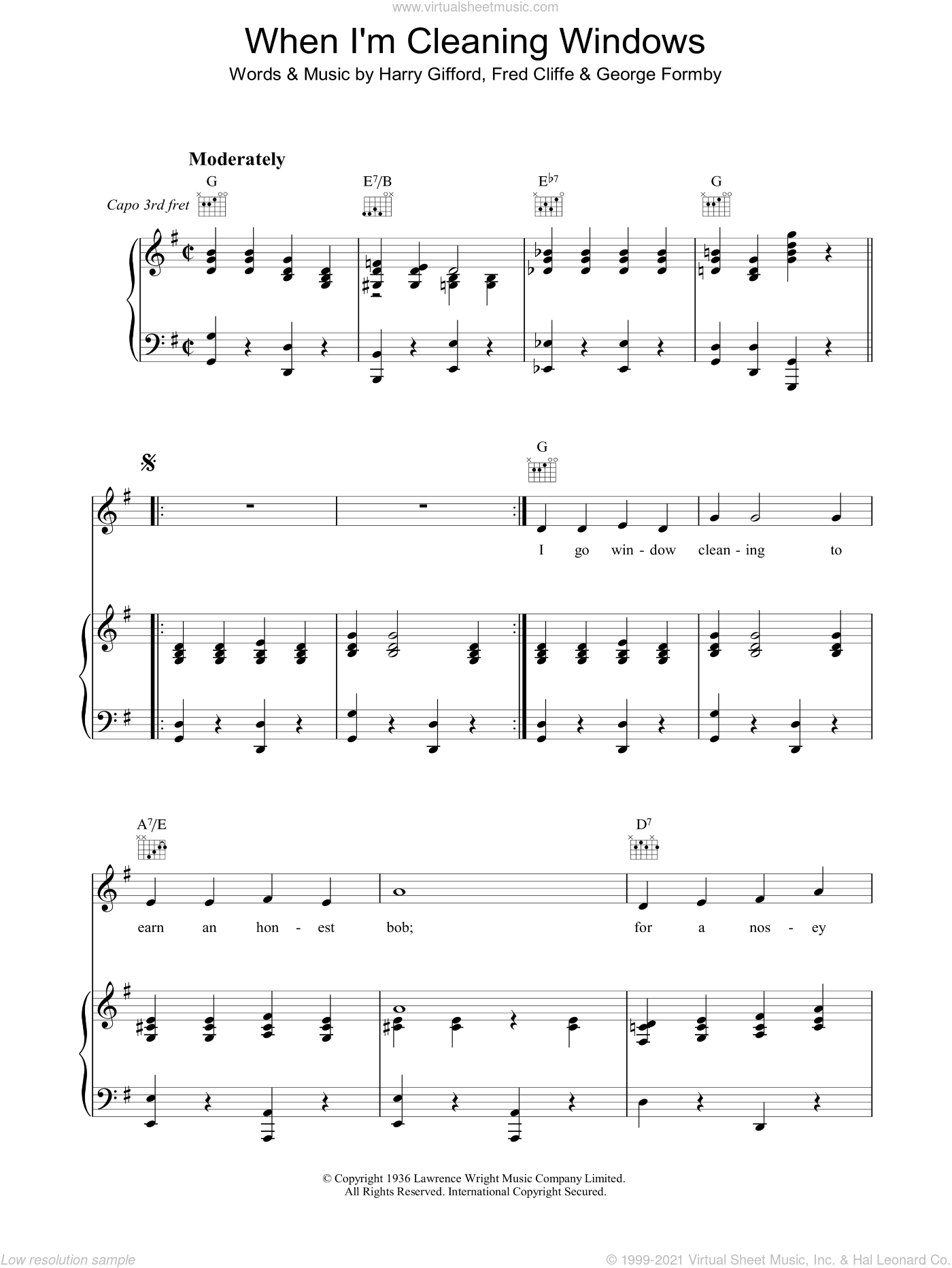 When I'm Cleaning Windows sheet music for voice, piano or guitar by Harry Gifford