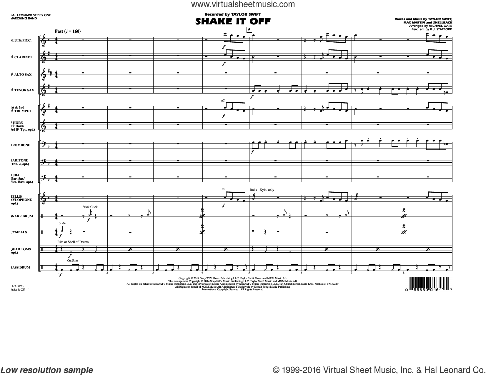 Shake It Off (COMPLETE) sheet music for marching band by Shellback, Johan Schuster, Max Martin, Michael Oare and Taylor Swift. Score Image Preview.