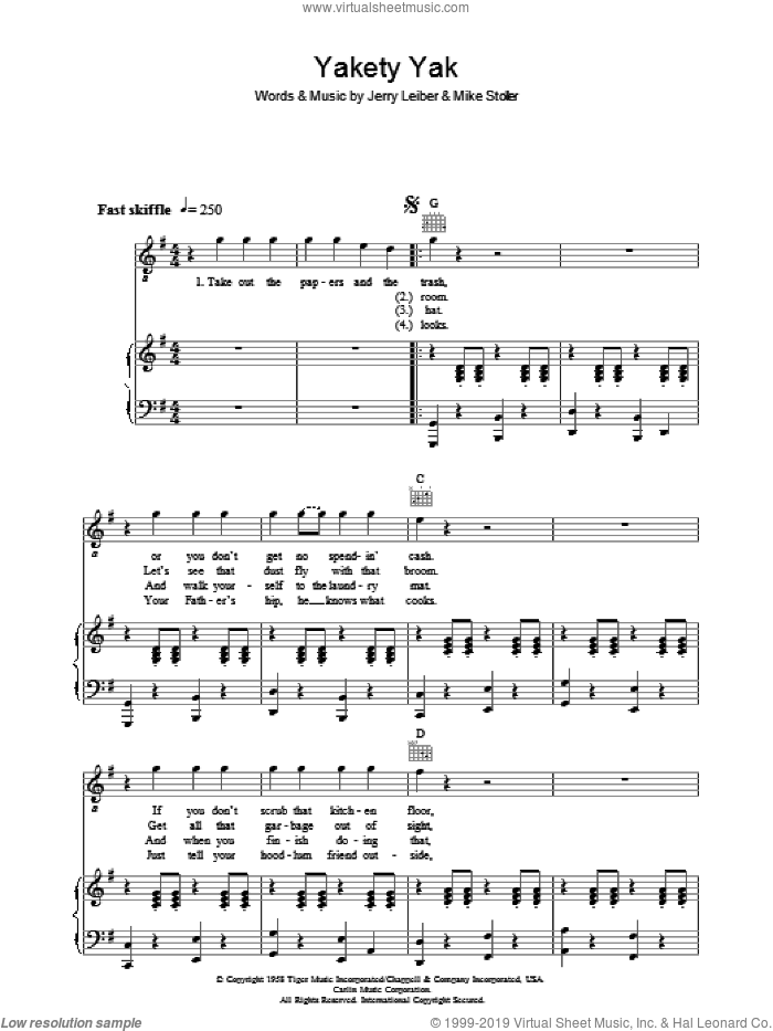 Yakety Yak sheet music for voice, piano or guitar by Mike Stoller