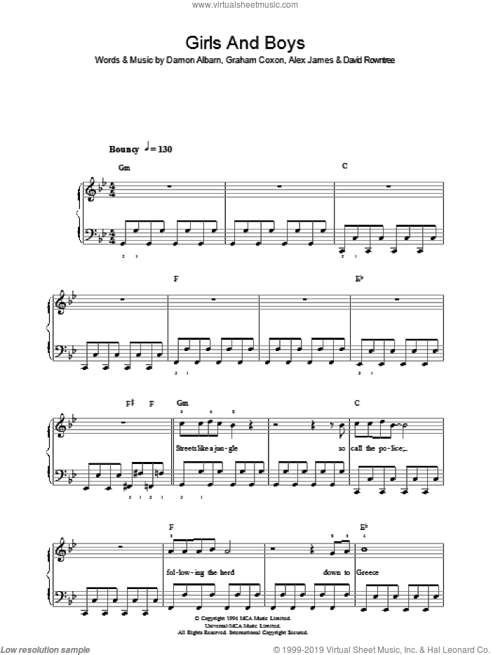 Girls And Boys sheet music for piano solo by Graham Coxon, Blur, Alex James and Damon Albarn. Score Image Preview.