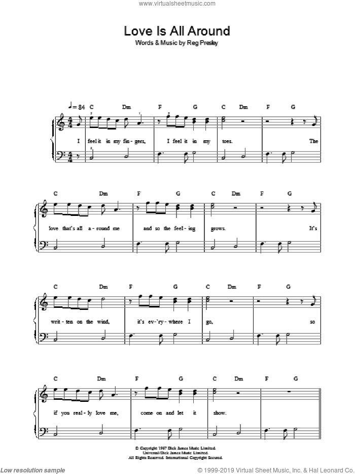 Love Is All Around sheet music for piano solo (chords) by Reg Presley