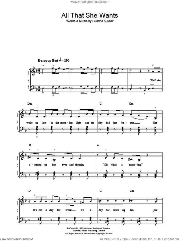 All That She Wants sheet music for piano solo (chords) by Joker