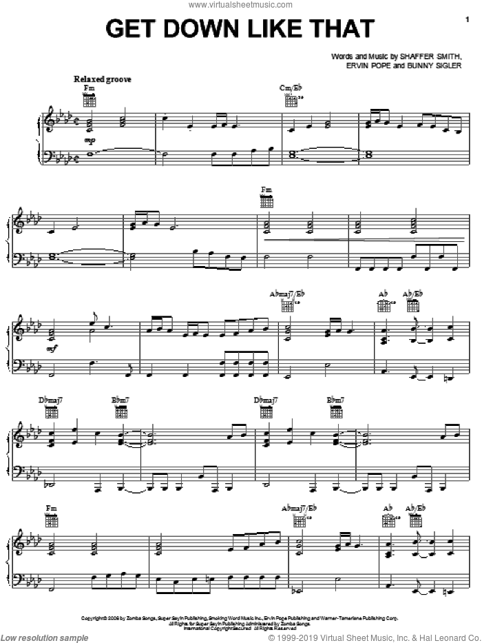 Get Down Like That sheet music for voice, piano or guitar by Ne-Yo, Bunny Sigler, Ervin Pope and Shaffer Smith, intermediate skill level