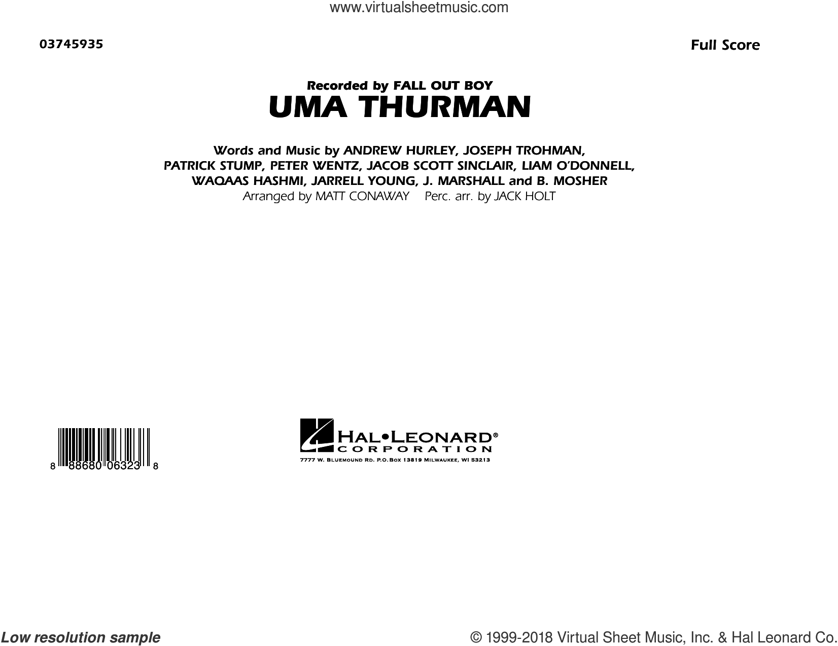 Uma Thurman (COMPLETE) sheet music for marching band by Matt Conaway, Andrew Hurley, B. Mosher, Fall Out Boy, J. Marshall, Jacob Scott Sinclair, Jarrell Young, Joseph Trohman, Patrick Stump, Peter Wentz and Waqaas Hashmi, intermediate skill level