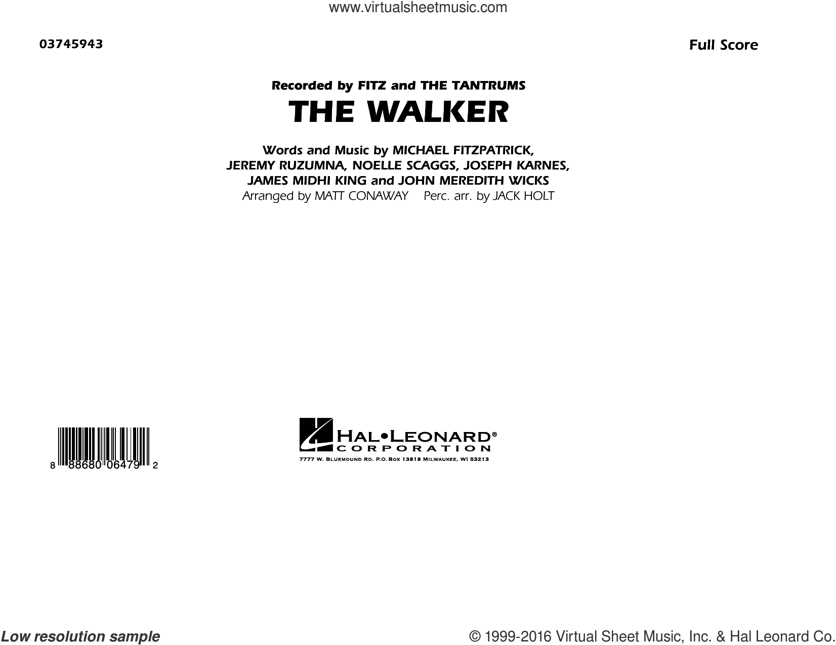 The Walker (COMPLETE) sheet music for marching band by Noelle Scaggs, Jeremy Ruzumna, Matt Conaway and Michael Fitzpatrick. Score Image Preview.