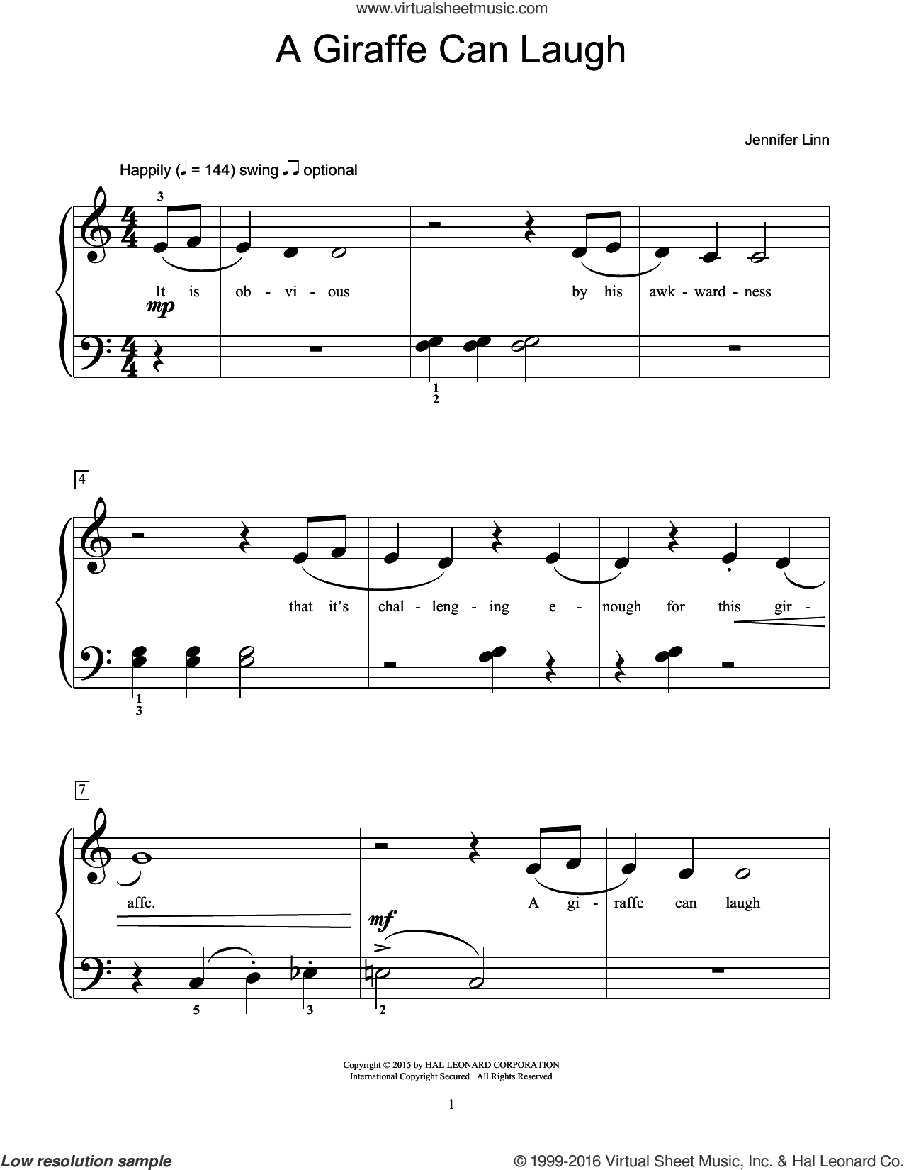A Giraffe Can Laugh sheet music for piano solo (elementary) by Jennifer Linn, beginner piano (elementary)