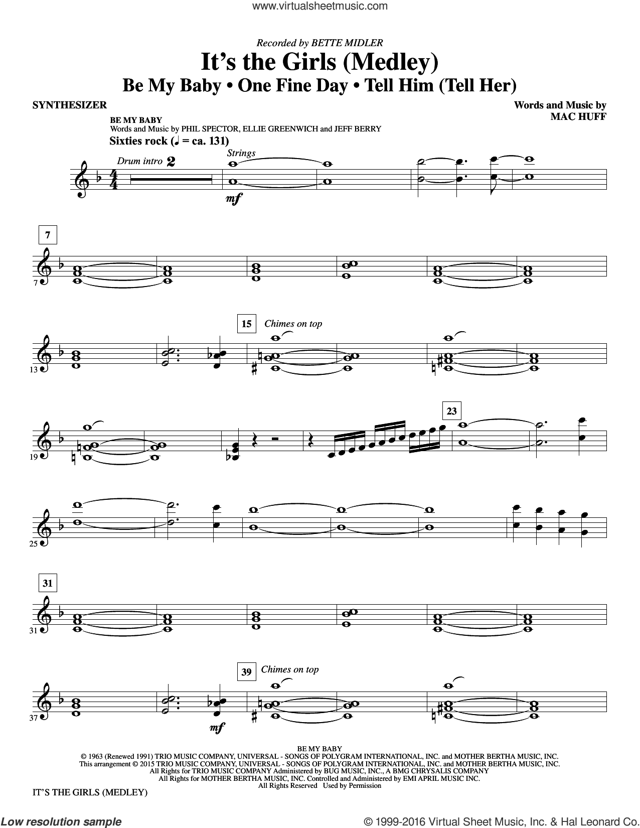 It's the Girls (Medley) sheet music for orchestra/band (synthesizer) by Mac Huff, Bette Midler, Ellie Greenwich, Jeff Barry, Phil Spector and Ronettes, intermediate orchestra/band (synthesizer). Score Image Preview.
