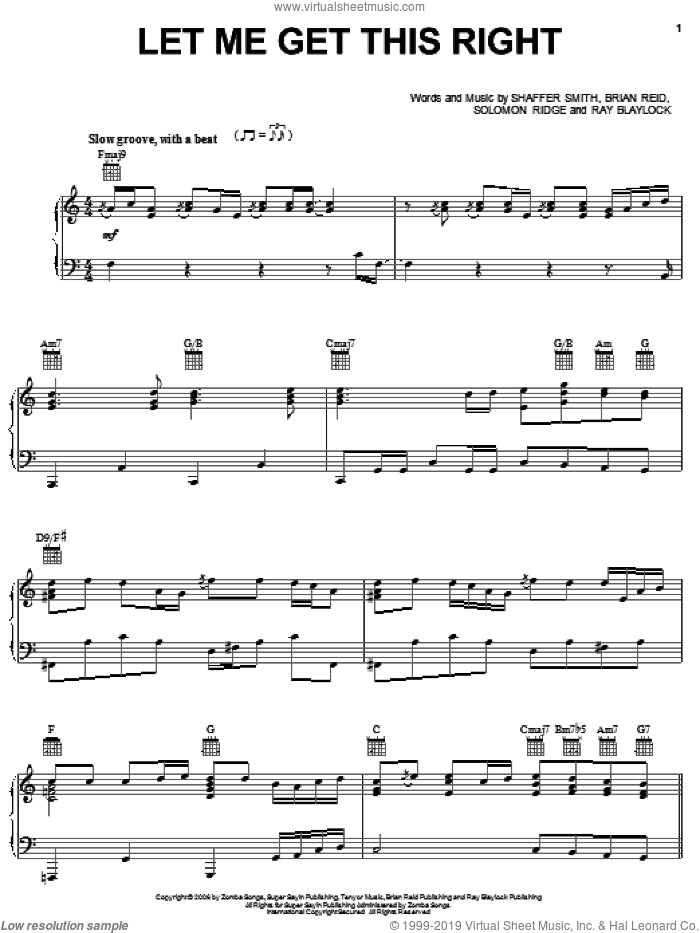 Let Me Get This Right sheet music for voice, piano or guitar by Solomon Ridge, Ne-Yo and Shaffer Smith. Score Image Preview.