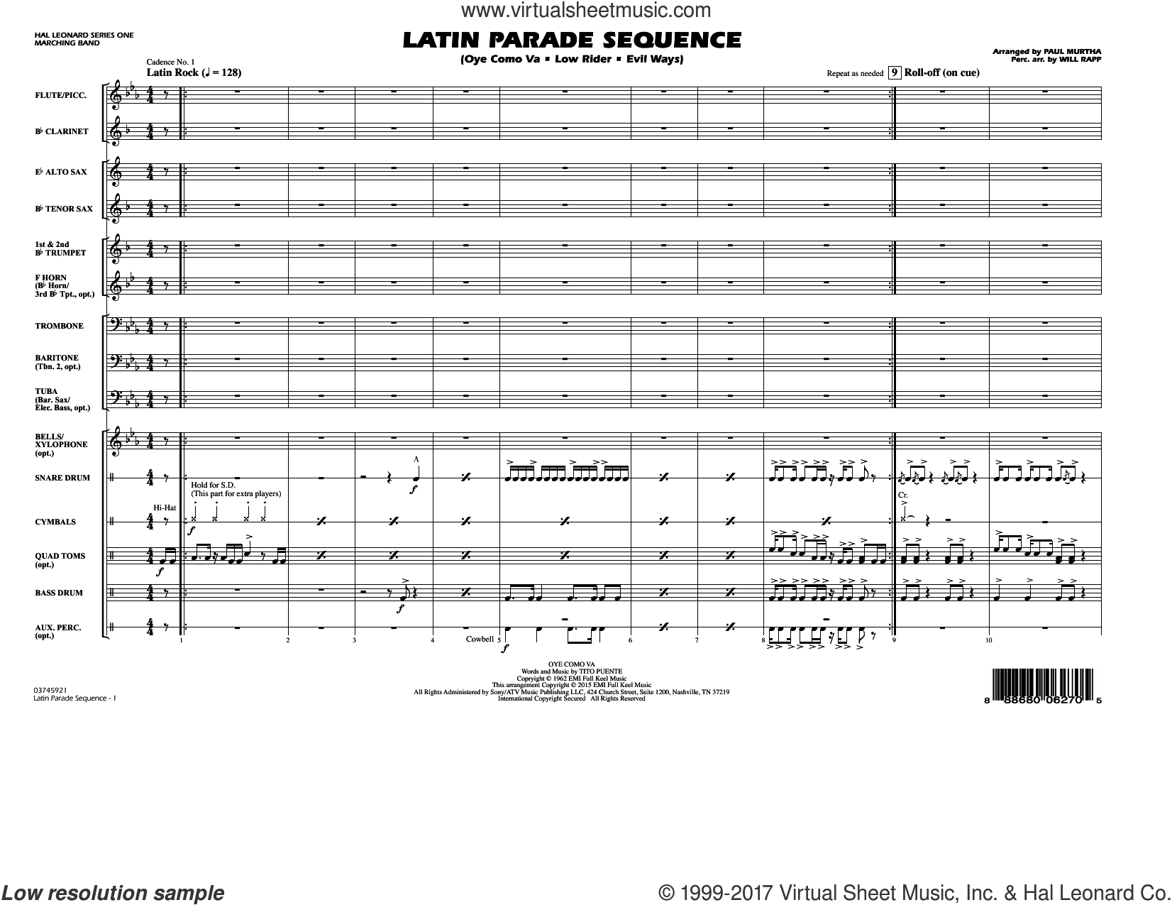 Latin Parade Sequence (COMPLETE) sheet music for marching band by Paul Murtha, intermediate. Score Image Preview.