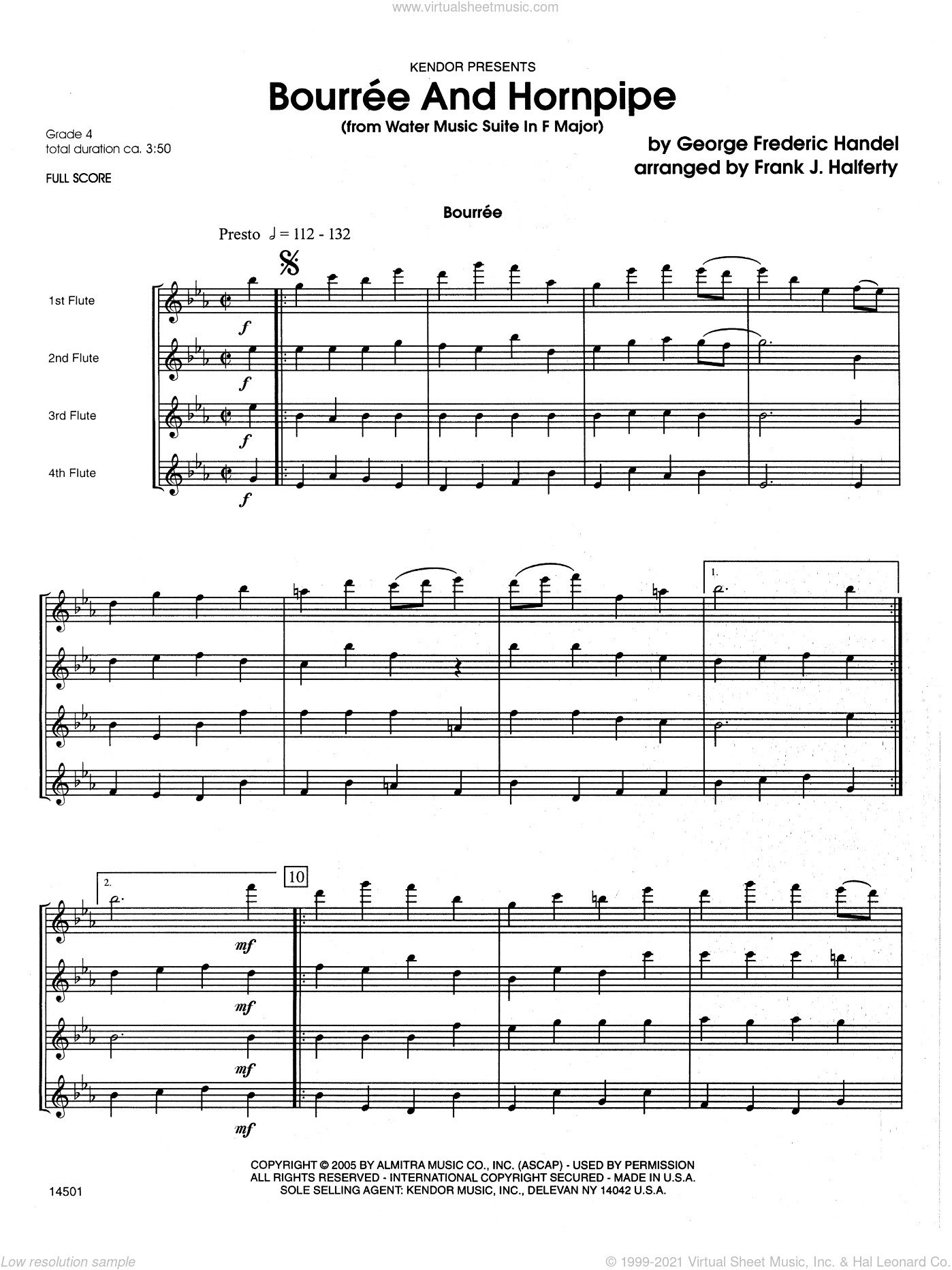 Bourree And Hornpipe (from Water Music Suite In F Major) sheet music for wind ensemble (full score) by George Frideric Handel and Frank J. Halferty, classical score, intermediate. Score Image Preview.