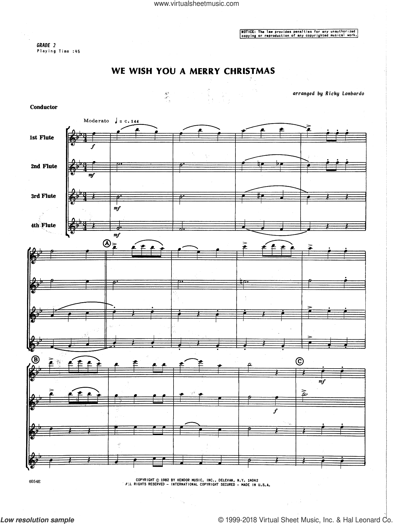 We Wish You A Merry Christmas sheet music for flute quartet (full score) by Lombardo. Score Image Preview.