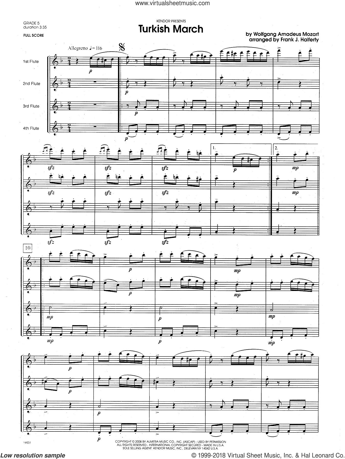 Turkish March (COMPLETE) sheet music for flute quartet by Wolfgang Amadeus Mozart and Frank J. Halferty, classical score, intermediate skill level