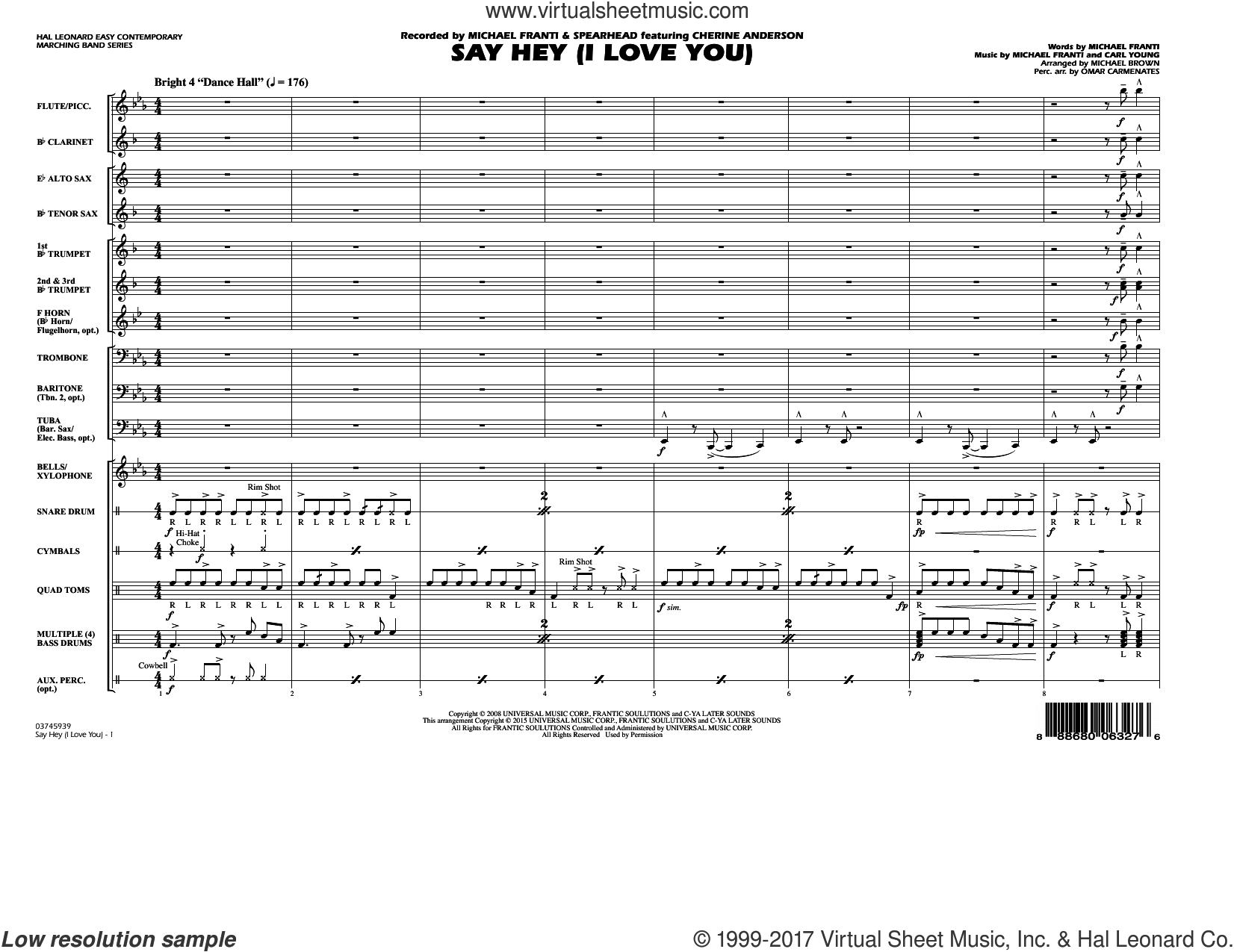 Say Hey (I Love You) (COMPLETE) sheet music for marching band by Michael Brown and Michael Franti, intermediate marching band. Score Image Preview.