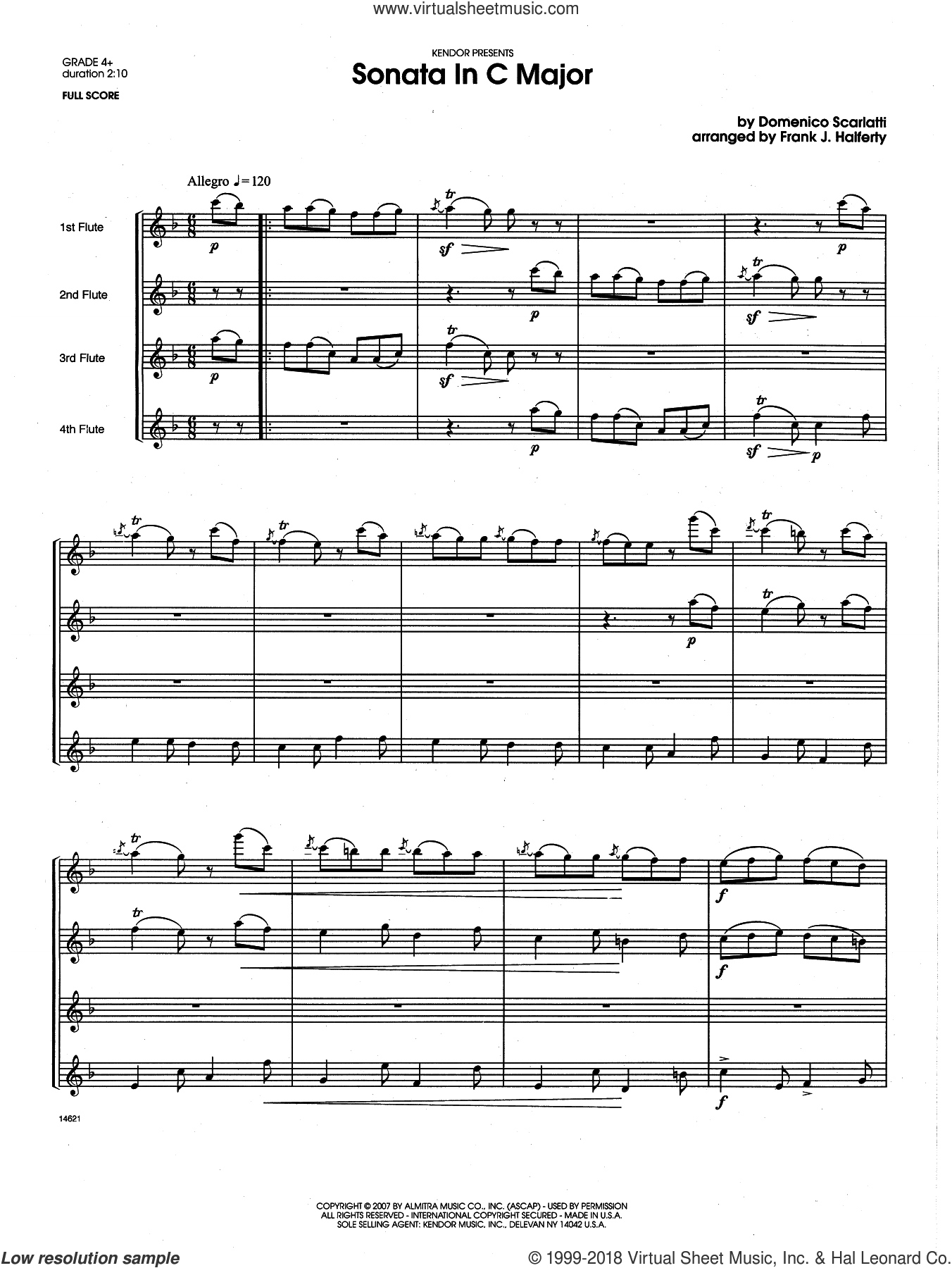 Sonata in C Major (COMPLETE) sheet music for flute quartet by Frank J. Halferty and Domenico Scarlatti, classical score, intermediate skill level