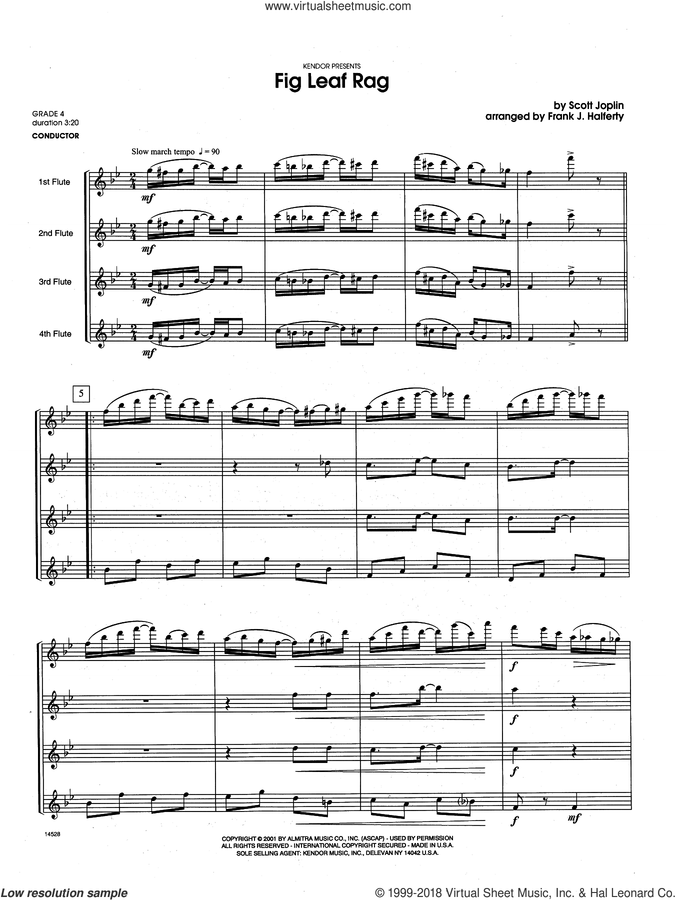Fig Leaf Rag (COMPLETE) sheet music for flute quartet by Scott Joplin and Frank J. Halferty, intermediate