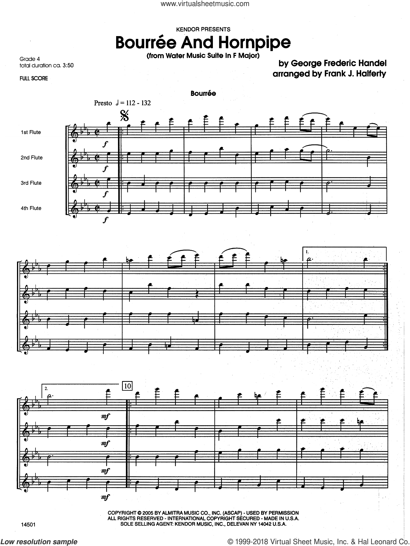 Bourree And Hornpipe (from Water Music Suite In F Major) (COMPLETE) sheet music for flute quartet by George Frideric Handel and Frank J. Halferty, classical score, intermediate skill level