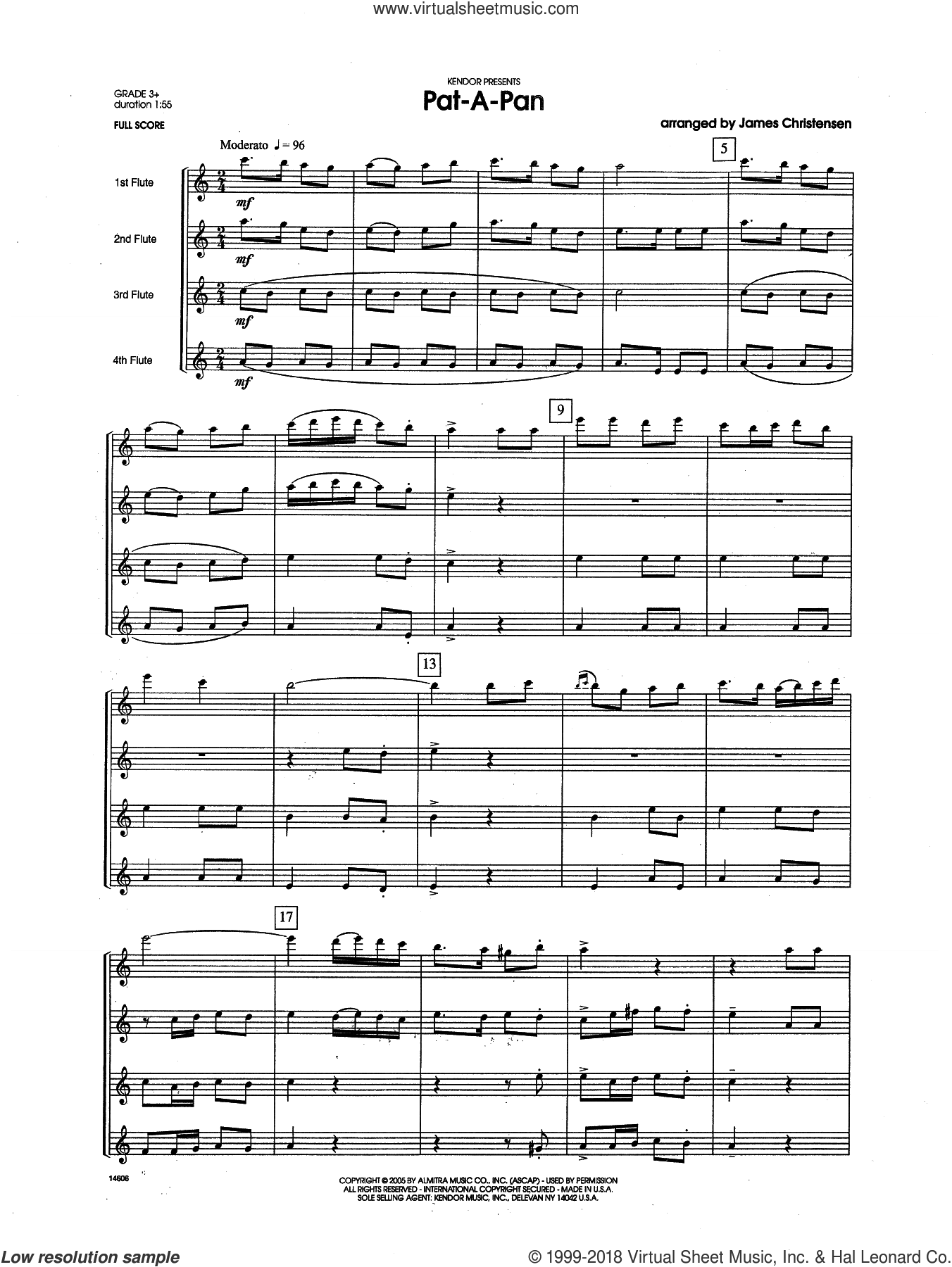 Pat-a-Pan (COMPLETE) sheet music for flute quartet by James Christensen, intermediate flute quartet. Score Image Preview.