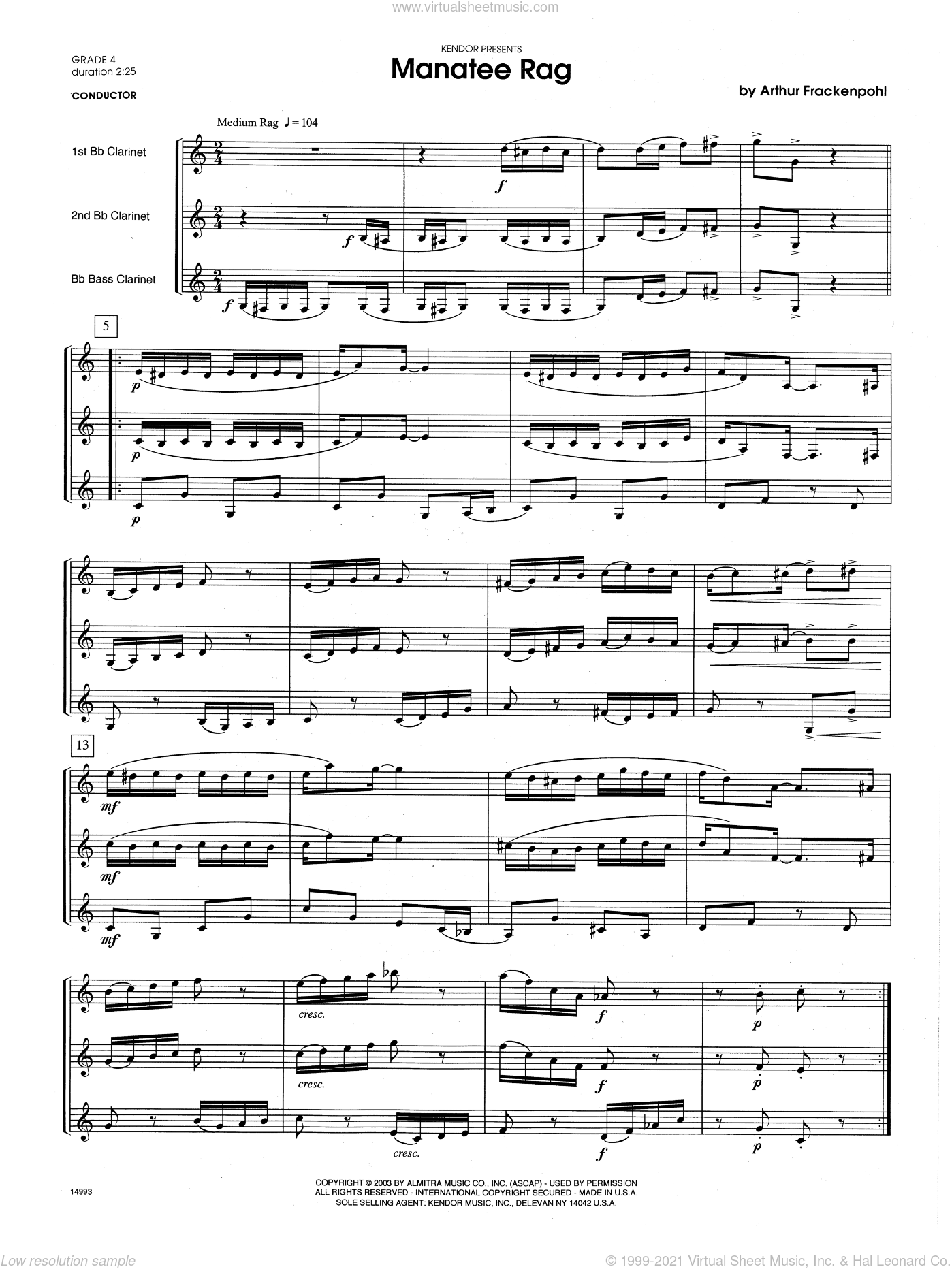 Manatee Rag sheet music for clarinet trio (full score) by Arthur Frackenpohl. Score Image Preview.