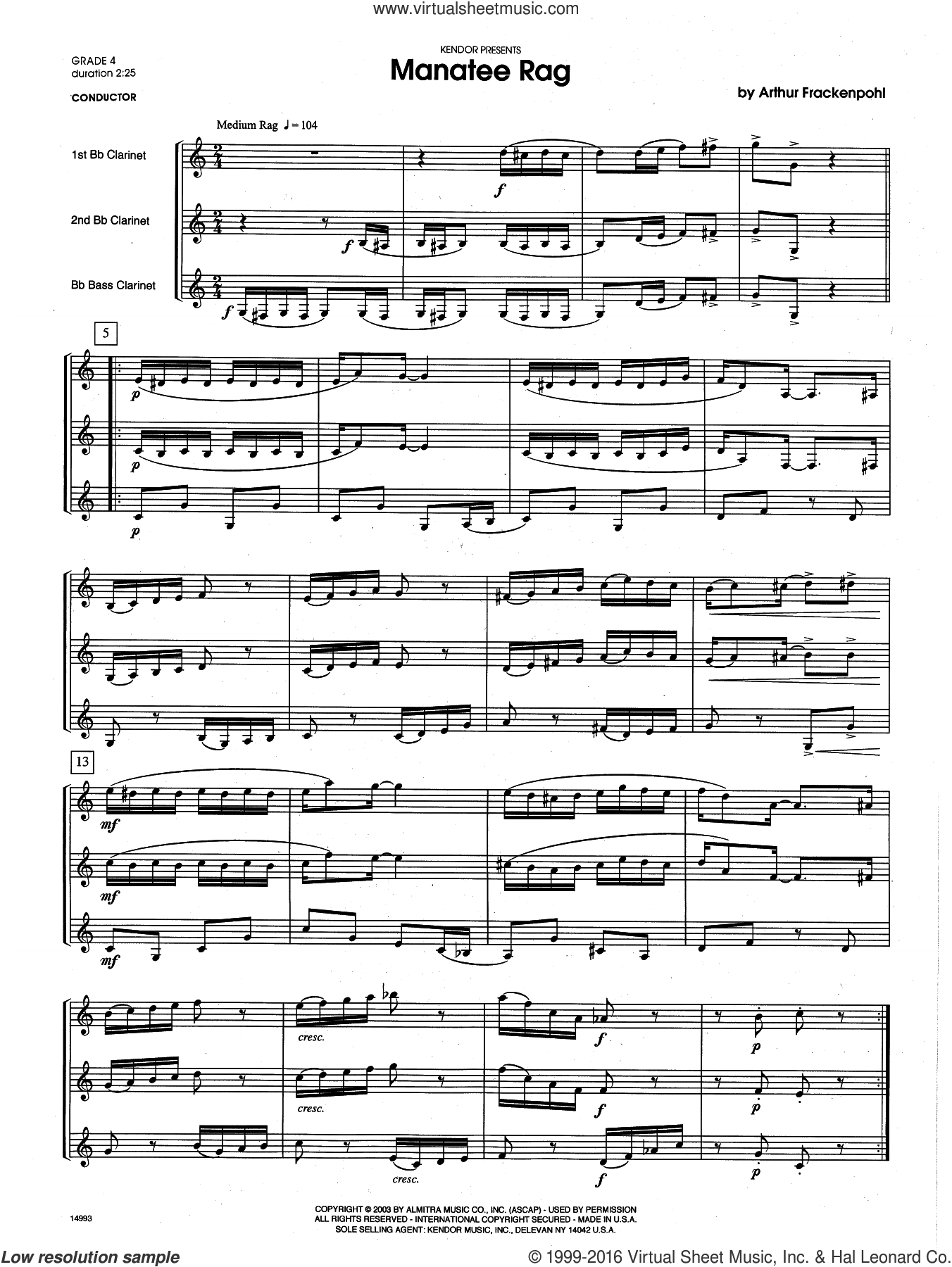 Manatee Rag (COMPLETE) sheet music for clarinet trio by Arthur Frackenpohl. Score Image Preview.