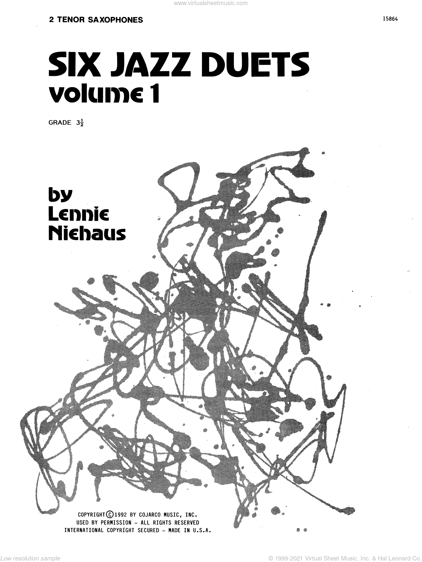 Six Jazz Duets, Volume 1 sheet music for two tenor saxophones by Lennie Niehaus. Score Image Preview.
