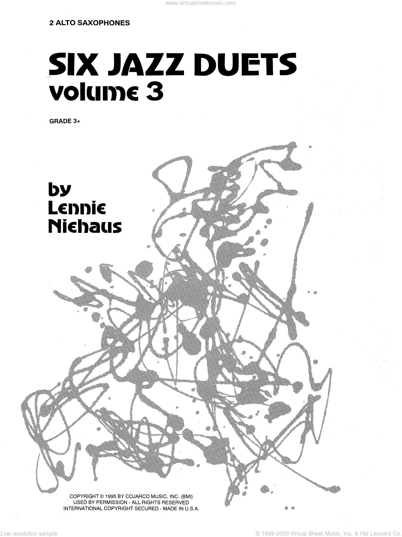 Six Jazz Duets, Volume 3 sheet music for two alto saxophones by Lennie Niehaus. Score Image Preview.