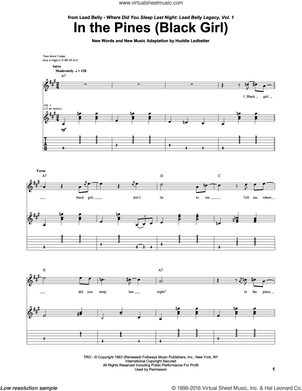 In The Pines (Black Girl) sheet music for guitar (tablature) by Huddie Ledbetter, intermediate skill level