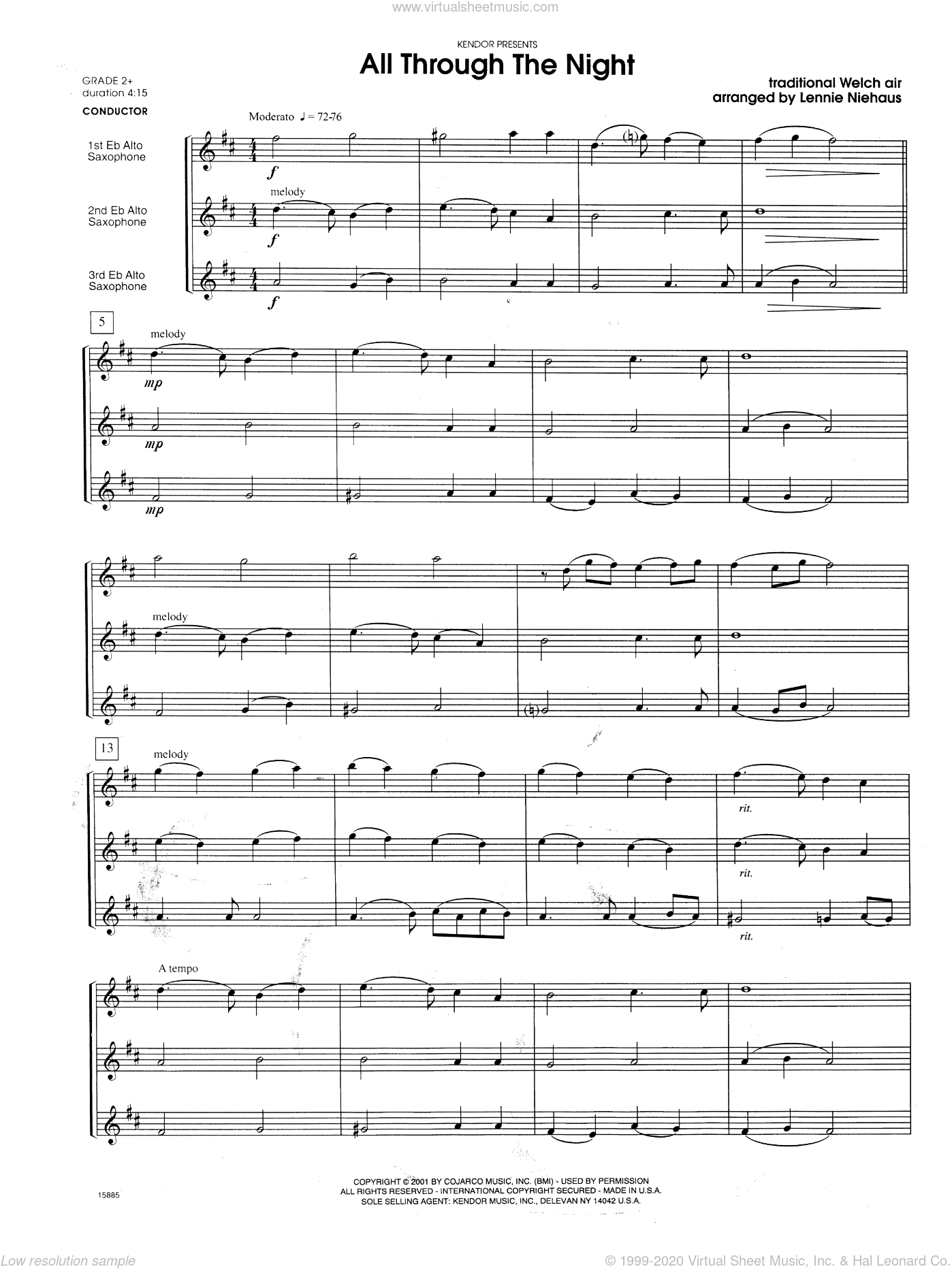 All Through the Night sheet music for saxophone trio (full score) by Lennie Niehaus, intermediate. Score Image Preview.