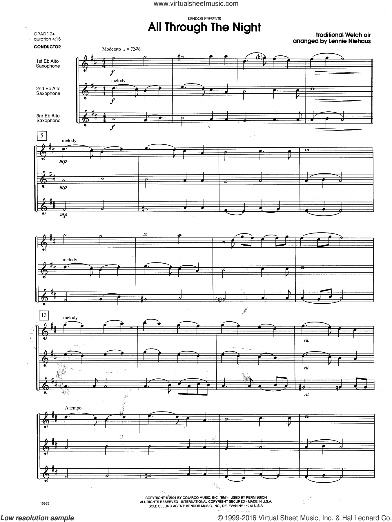 All Through the Night (COMPLETE) sheet music for saxophone trio by Lennie Niehaus, intermediate saxophone trio. Score Image Preview.